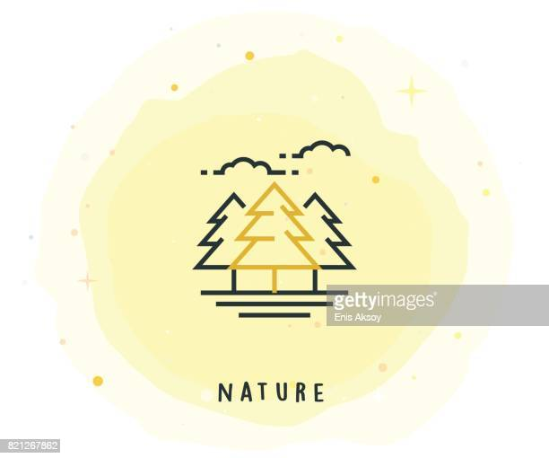 Nature Icon with Watercolor Patch