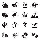 Nature Icons. Black Flat Design. Vector Illustration.