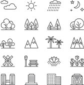 Nature landscape line vector elements and houses. Outline trees and mountains icons