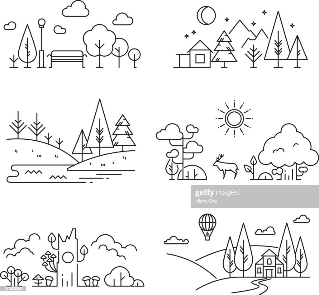 Nature landscape outline icons with tree, plants, mountains, river