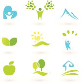 Nature, landscape, people and  organic Icons / Symbols - green, blue