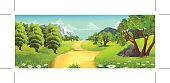 Nature landscape, rural road, vector background