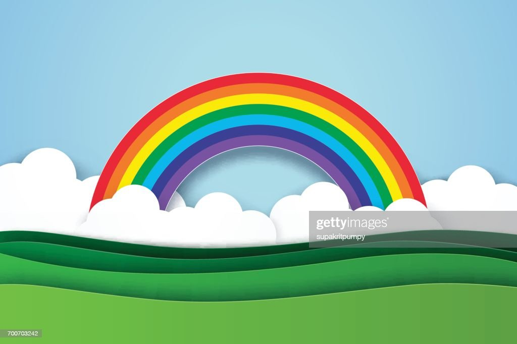 Nature landscape with rainbow background