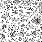Nature of Mexico. Mexican flora and fauna Vector Seamless pattern.