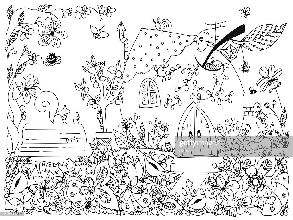 Nature & Parks. Fairy tale illustration an apple the form