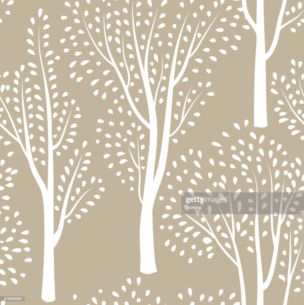 Nature seamless pattern. Forest background. Trees wildlife floral wallpaper