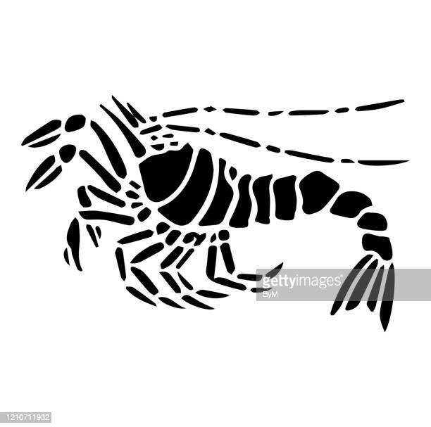 自然ステンシルデザインエビ - エビ料理点のイラスト素材/クリップアート素材/マンガ素材/アイコン素材