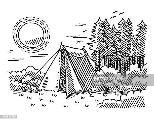 Nature Vacation Outdoors Tent Drawing