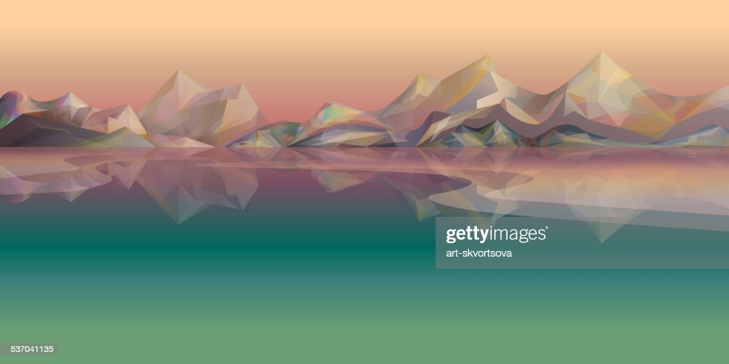 Nature vector landscape with mountains