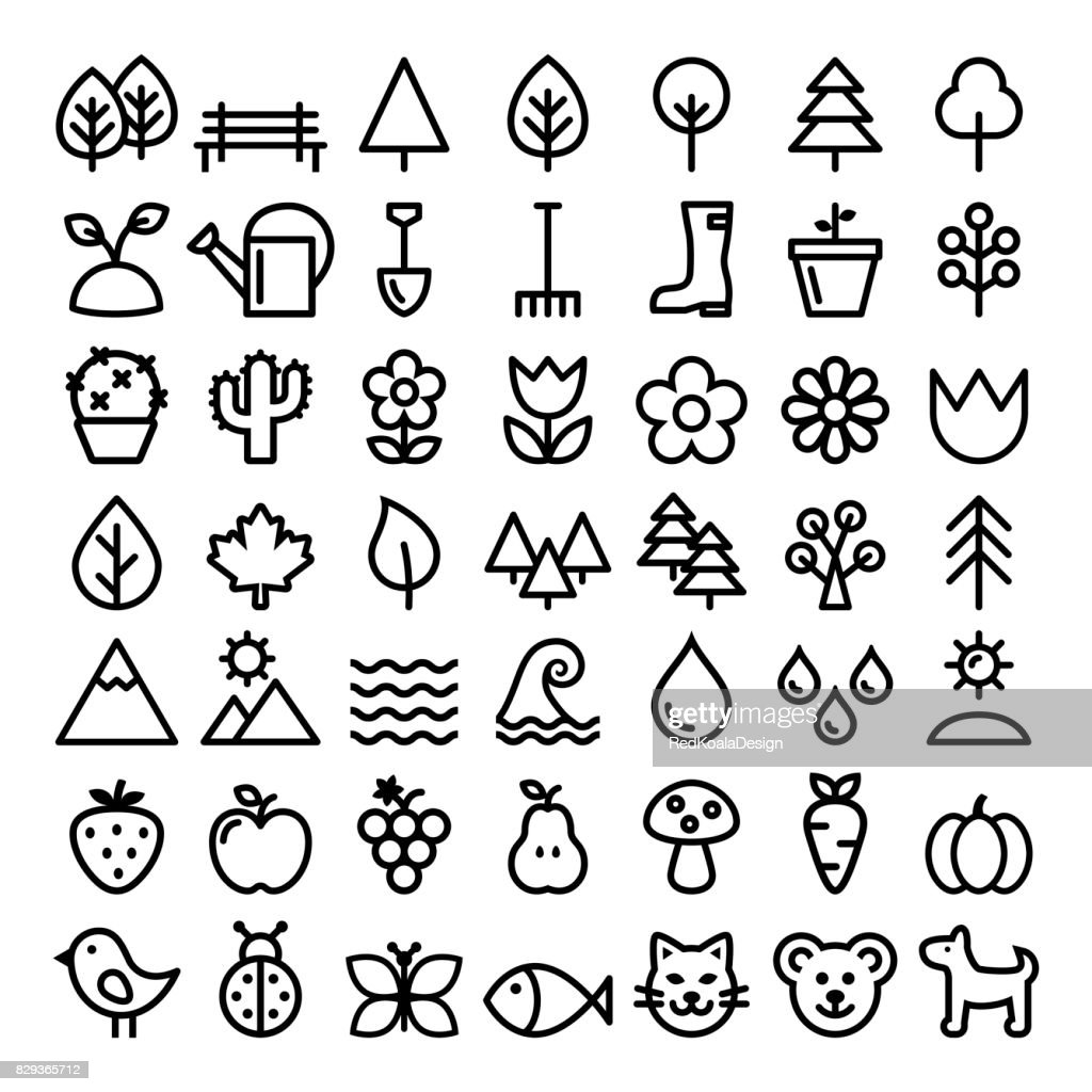 Nature vector line icons, minimalist park, animals, ecology, organic food design - big pack
