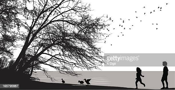 nature's gifts vector silhouette - water's edge stock illustrations