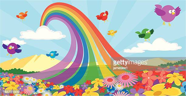 nature's pot of gold - flowerbed stock illustrations, clip art, cartoons, & icons