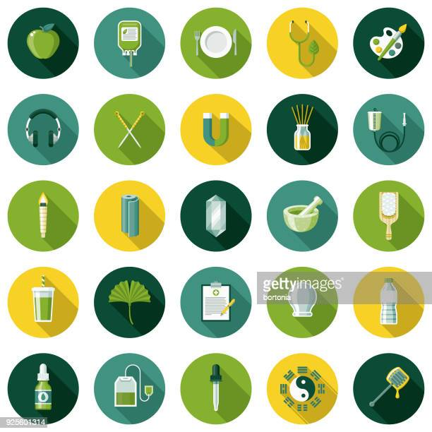 naturopathy flat design icon set with side shadow - acupuncture stock illustrations, clip art, cartoons, & icons