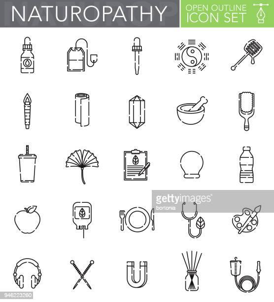 naturopathy open outline icon set - natural condition stock illustrations, clip art, cartoons, & icons