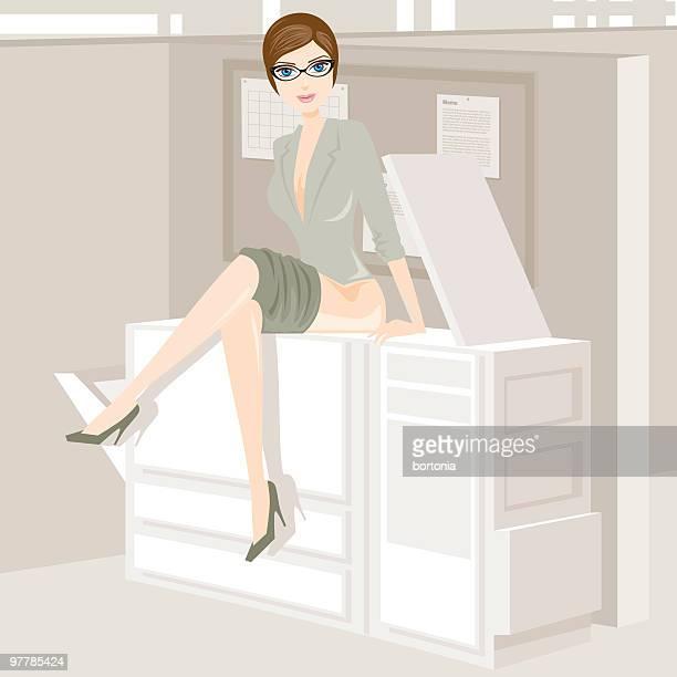 naughty secretary - photocopier stock illustrations, clip art, cartoons, & icons