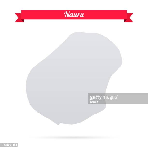 nauru map on white background with red banner - nauru stock illustrations, clip art, cartoons, & icons