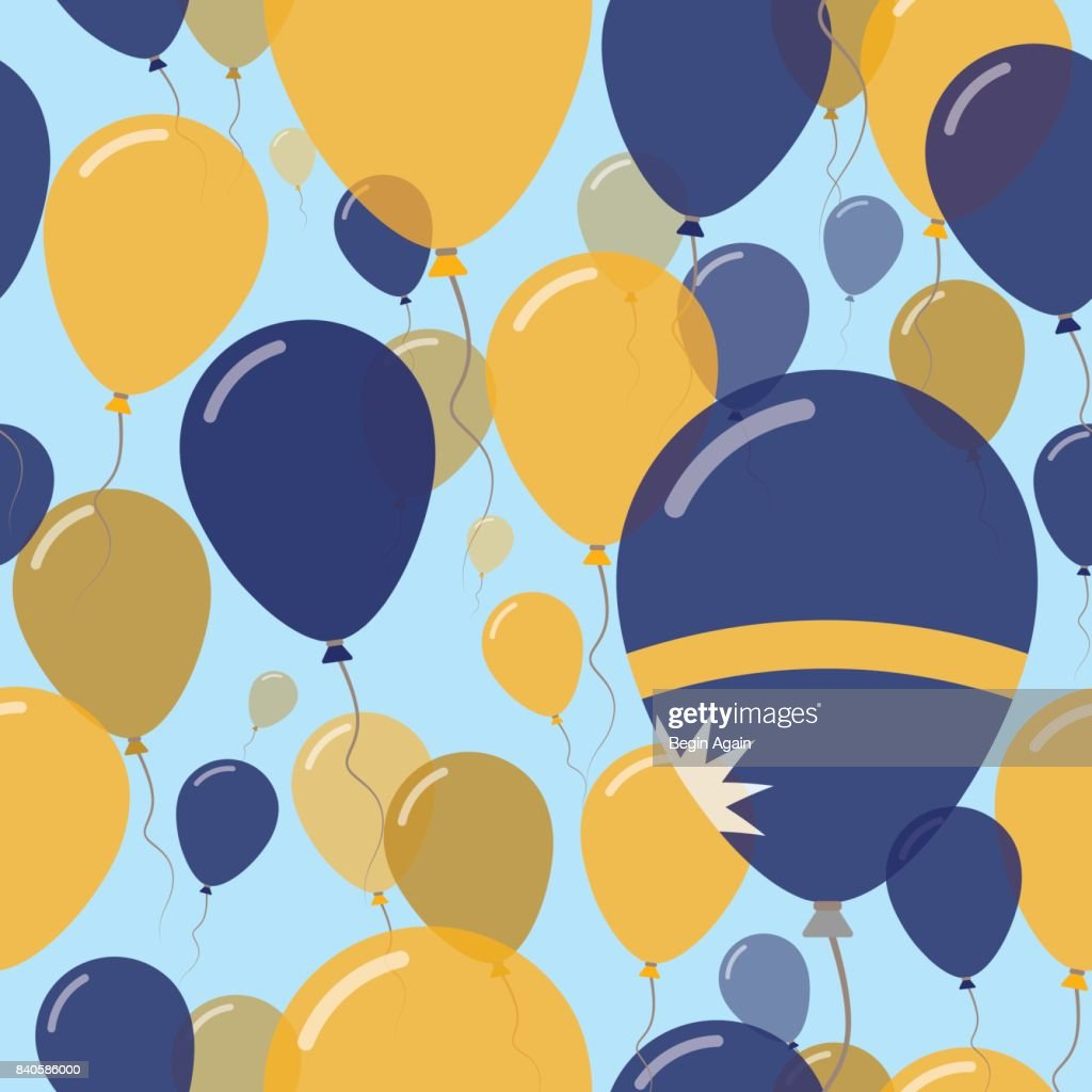 Nauru National Day Flat Seamless Pattern. Flying Celebration Balloons in Colors of Nauruan Flag. Happy Independence Day Background with Flags and Balloons.