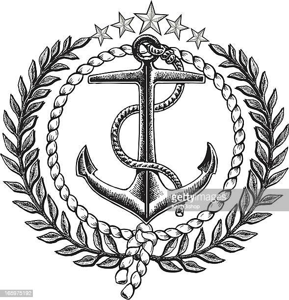 Nautical Anchor Graphic Icon with Olive Branch
