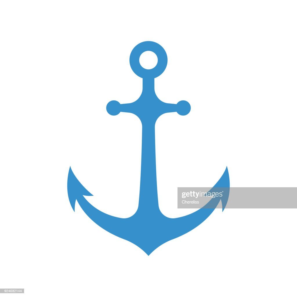 Nautical anchor isolated on white background. Blue sulhouette. Vector