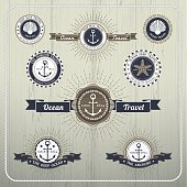 Nautical anchor travel labels with ray burst and ribbon