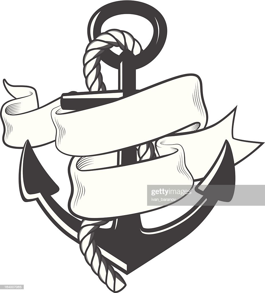 Nautical anchor with rope and ribbon