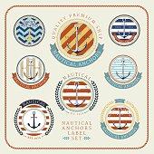 Nautical anchors label  set 01