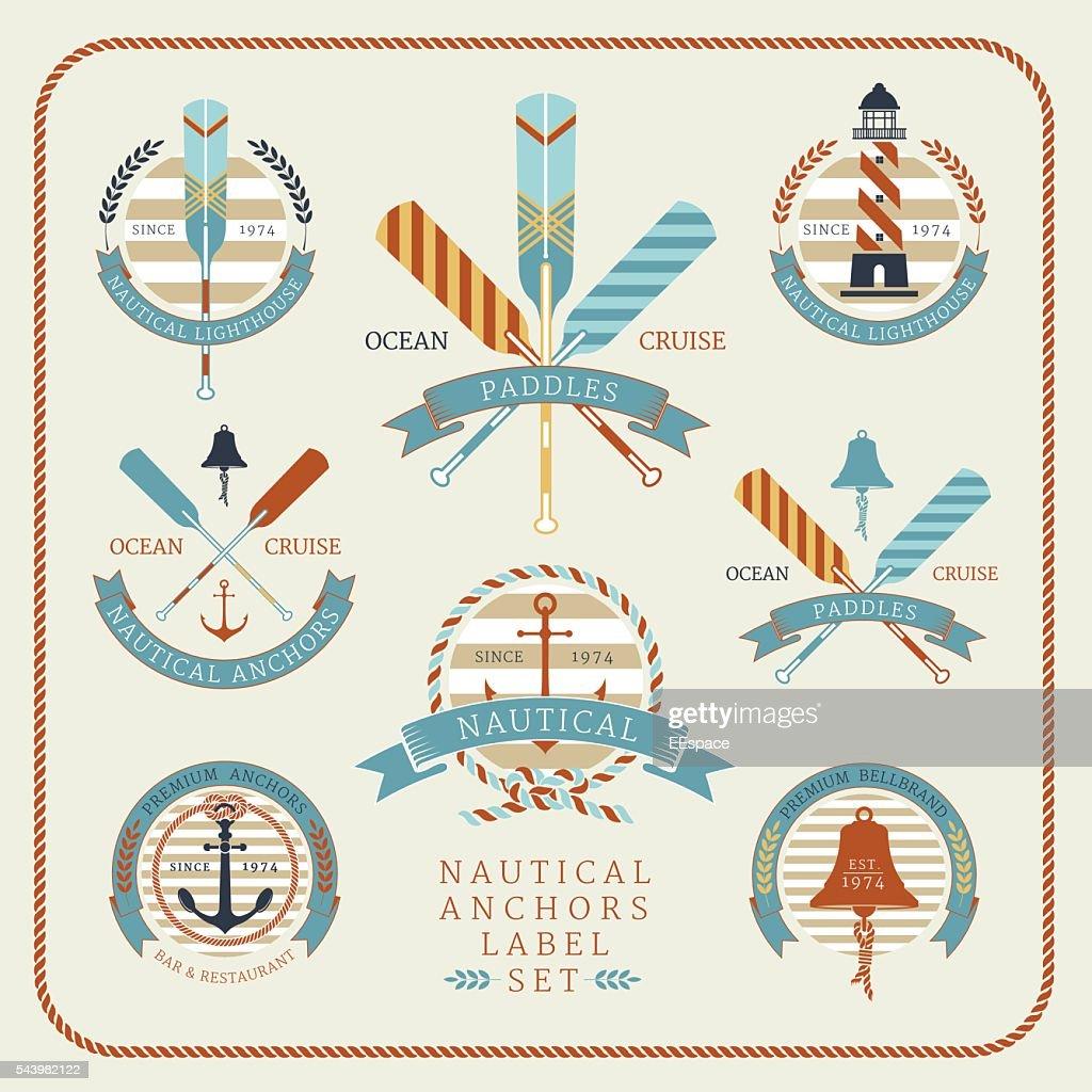 Nautical anchors label  set 02