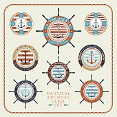 Nautical anchors label  set 03