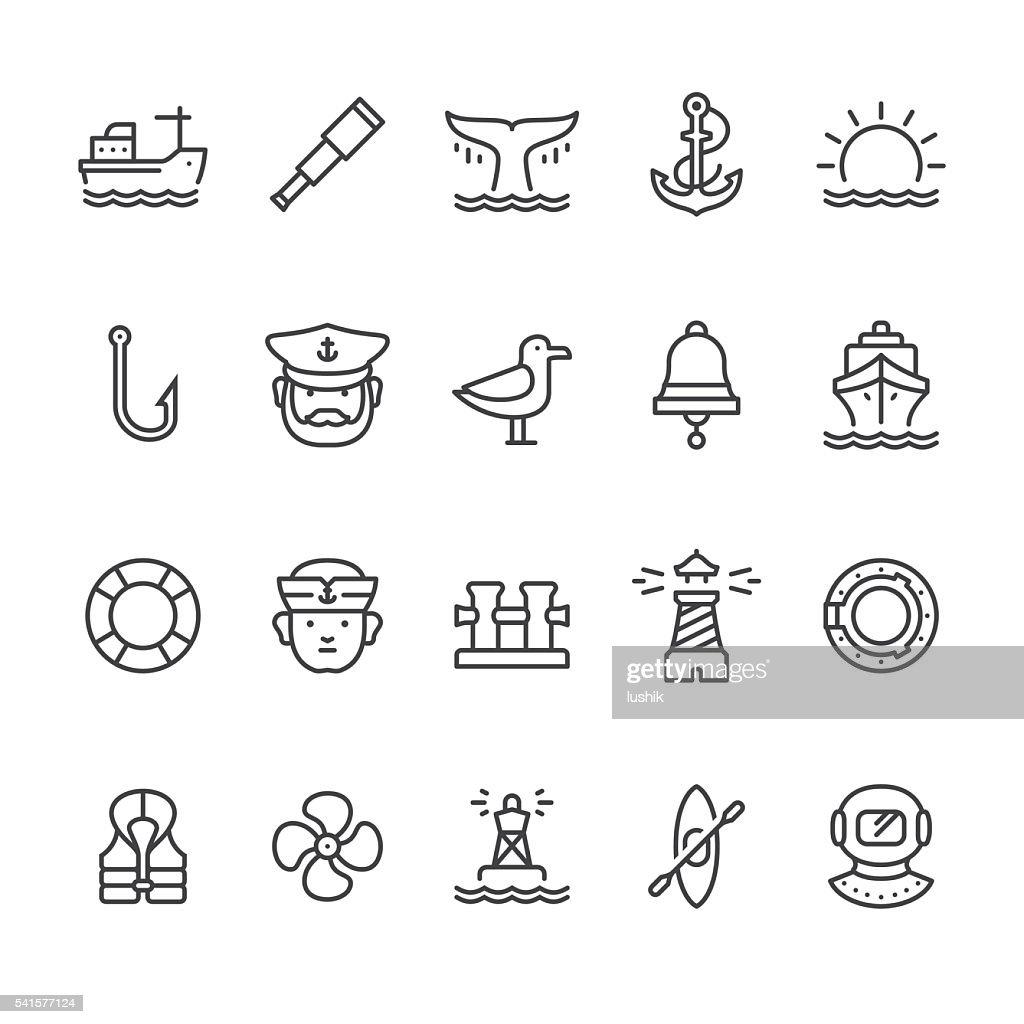 Náutica y al puerto de iconos vectoriales temáticas : Ilustración de stock