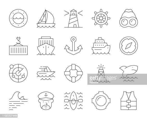 航海と港湾-細い線のアイコン - nautical vessel点のイラスト素材/クリップアート素材/マンガ素材/アイコン素材