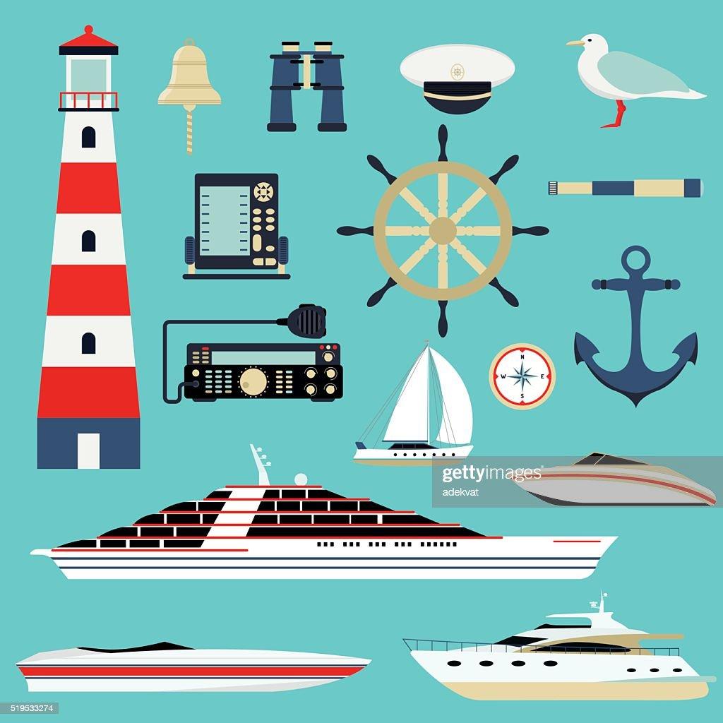Nautische Und Marineicons Und Symbolevektordesignelement Meer ...
