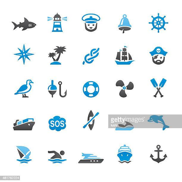 nautical and marine related vector icons - pirate boat stock illustrations, clip art, cartoons, & icons