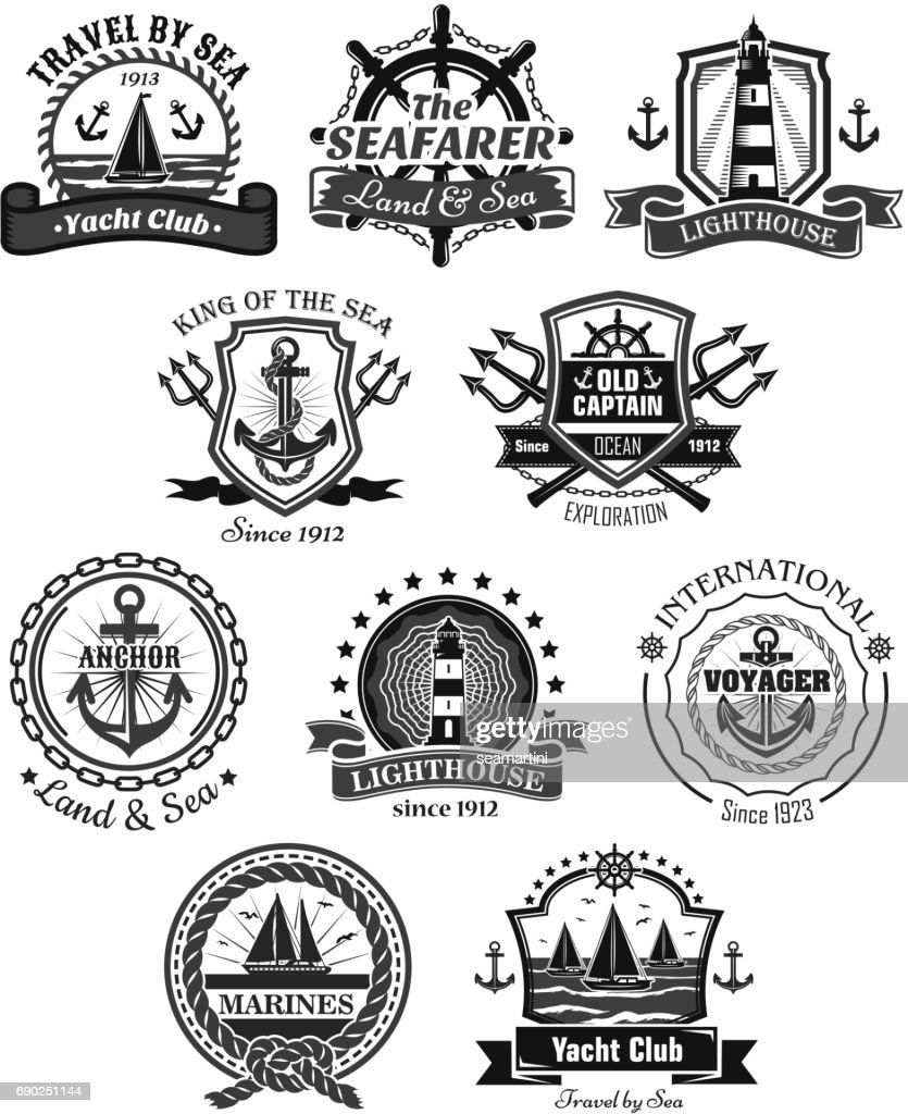 Nautical and marine symbols vector icons set