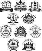 Nautical and marine symbols vector icons set