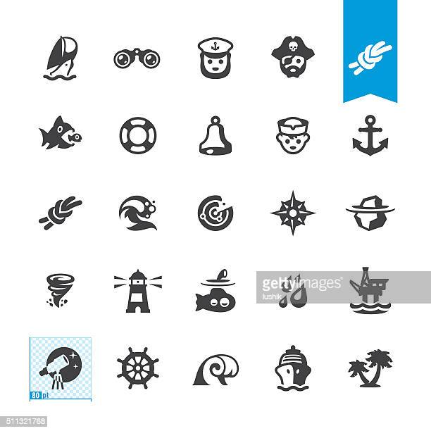 nautical and sailing vector icons - pirate boat stock illustrations, clip art, cartoons, & icons
