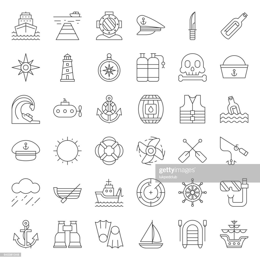 nautical and sailor, outline icon set