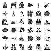 nautical and sailor, solid icon set
