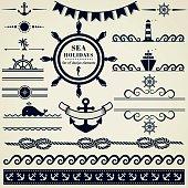 Nautical and sea design elements. Vector set.