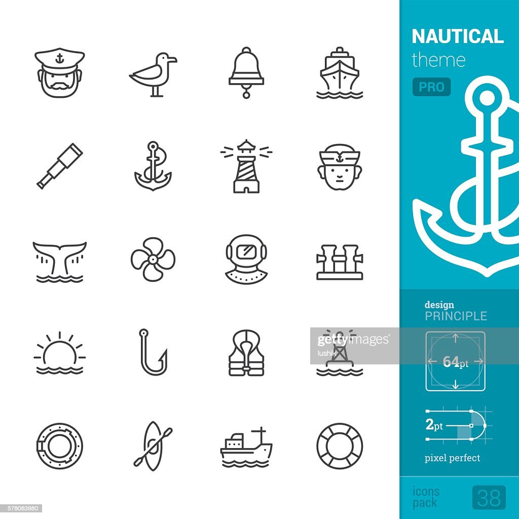 Nautical and Sea, outline vector icons - PRO pack : Ilustración de stock