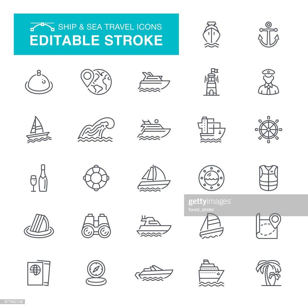 Nautical and Sea Travel Editable Stroke Icons