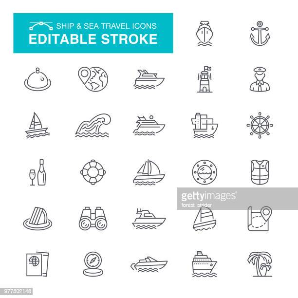 nautical and sea travel editable stroke icons - commercial dock stock illustrations
