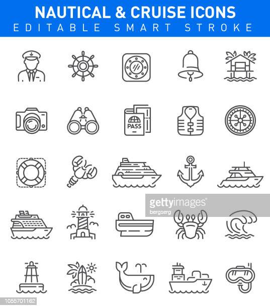 Nautical and Travel Icons. Editable stroke set