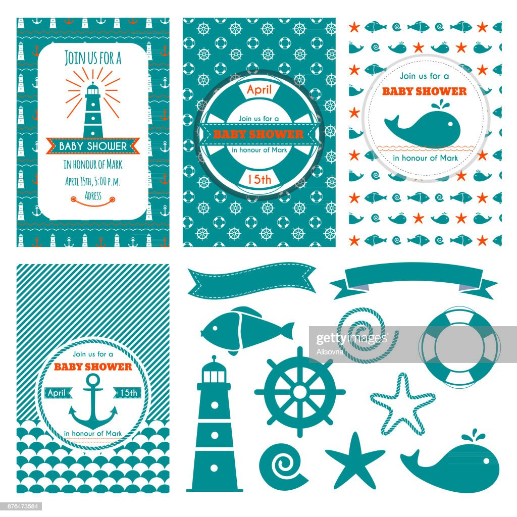 Nautical baby shower cards. Sea theme baby party invitations