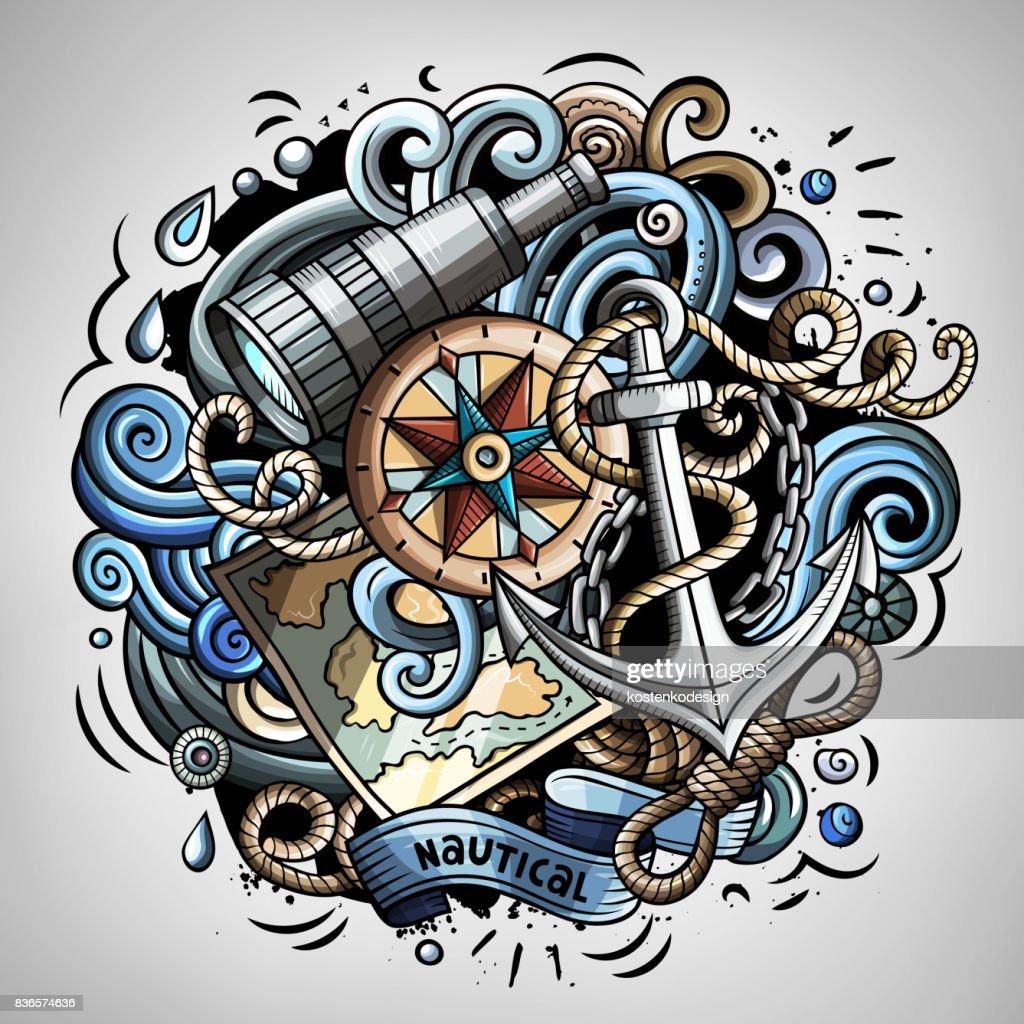 Nautical cartoon vector doodle illustration
