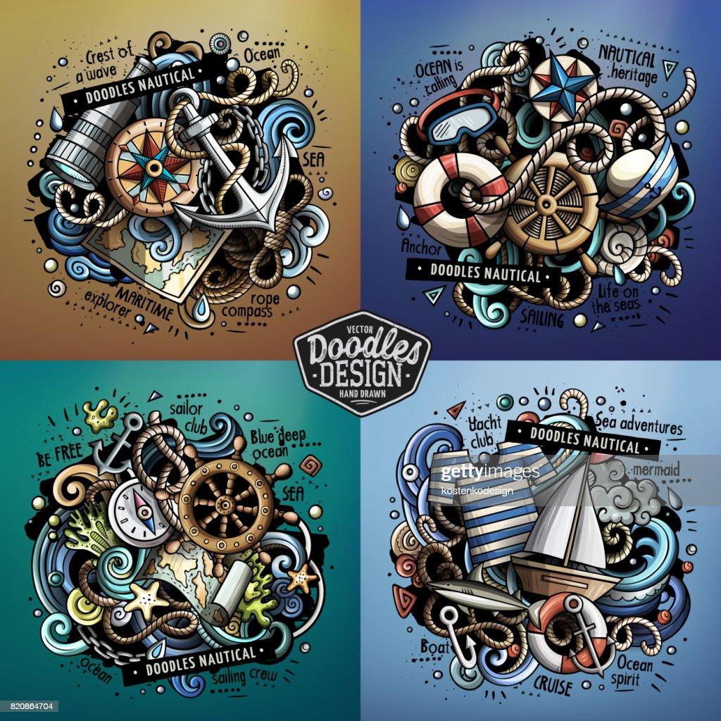 Nautical cartoon vector doodle illustrations