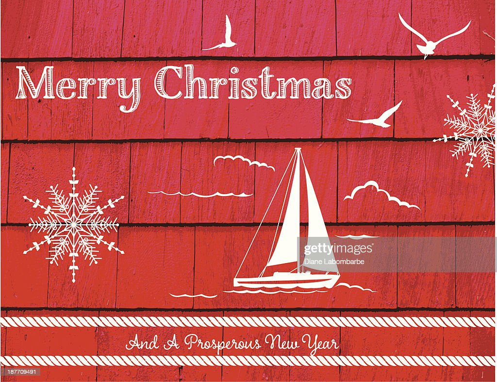 Nautical Christmas Card Template Vector Art Getty Images