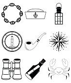 Nautical collection including crab, pipe, sailors hat, lantern, rose wind