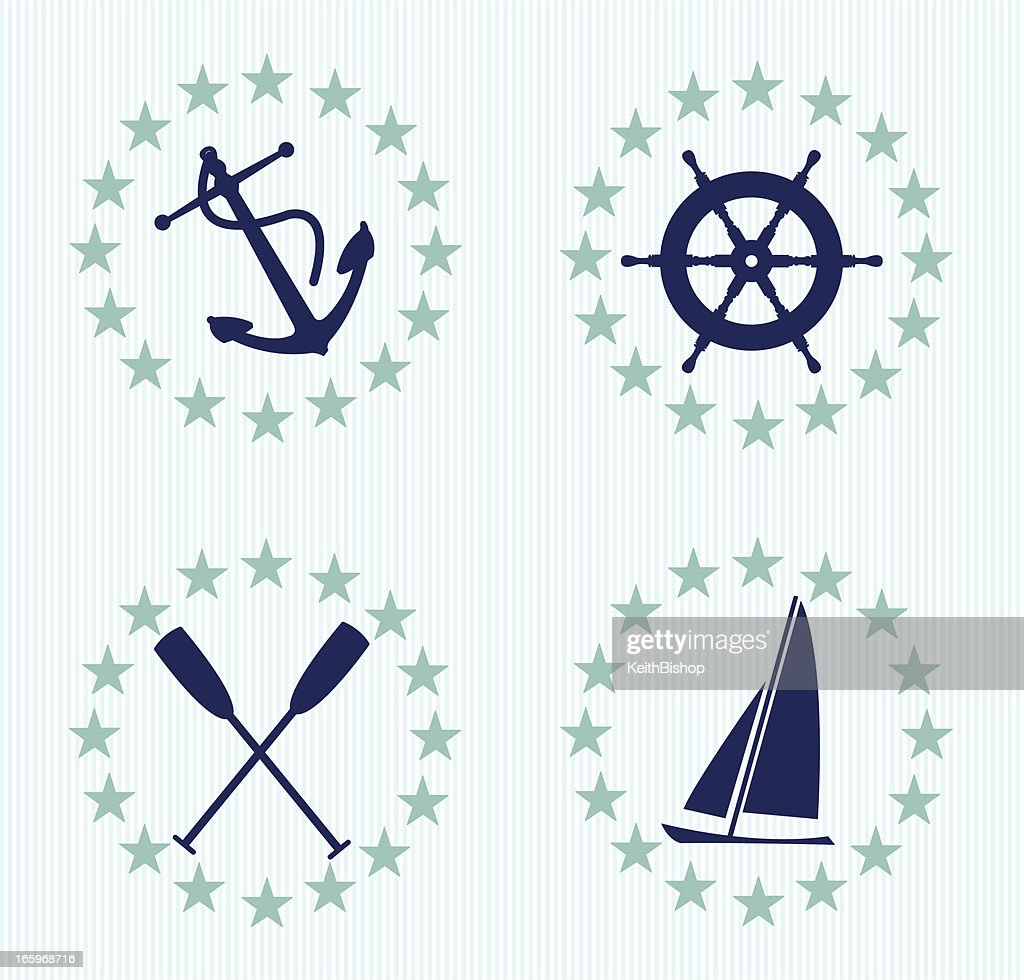 Nautical Design Accents With Pin Stripes Anchor Boat stock