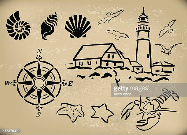 Nautisches Design-Elemente, Lighthouse, Seashell, Compass