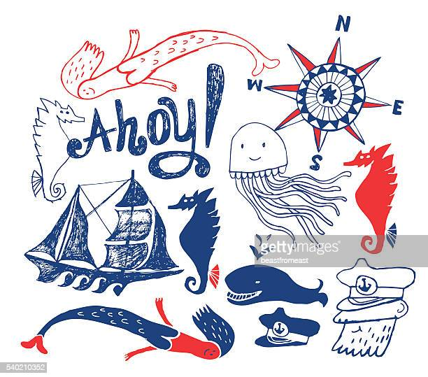 nautical drawings isolated on white - boat captain stock illustrations, clip art, cartoons, & icons